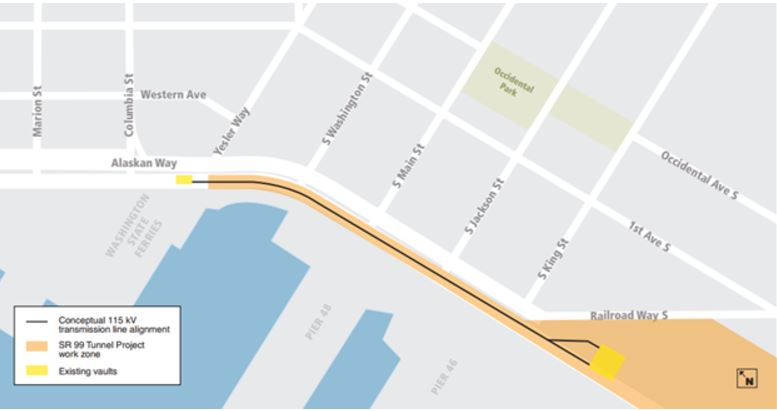Map of current transition line work zone along Alaskan Way from Yesler Way to Railroad Way S.
