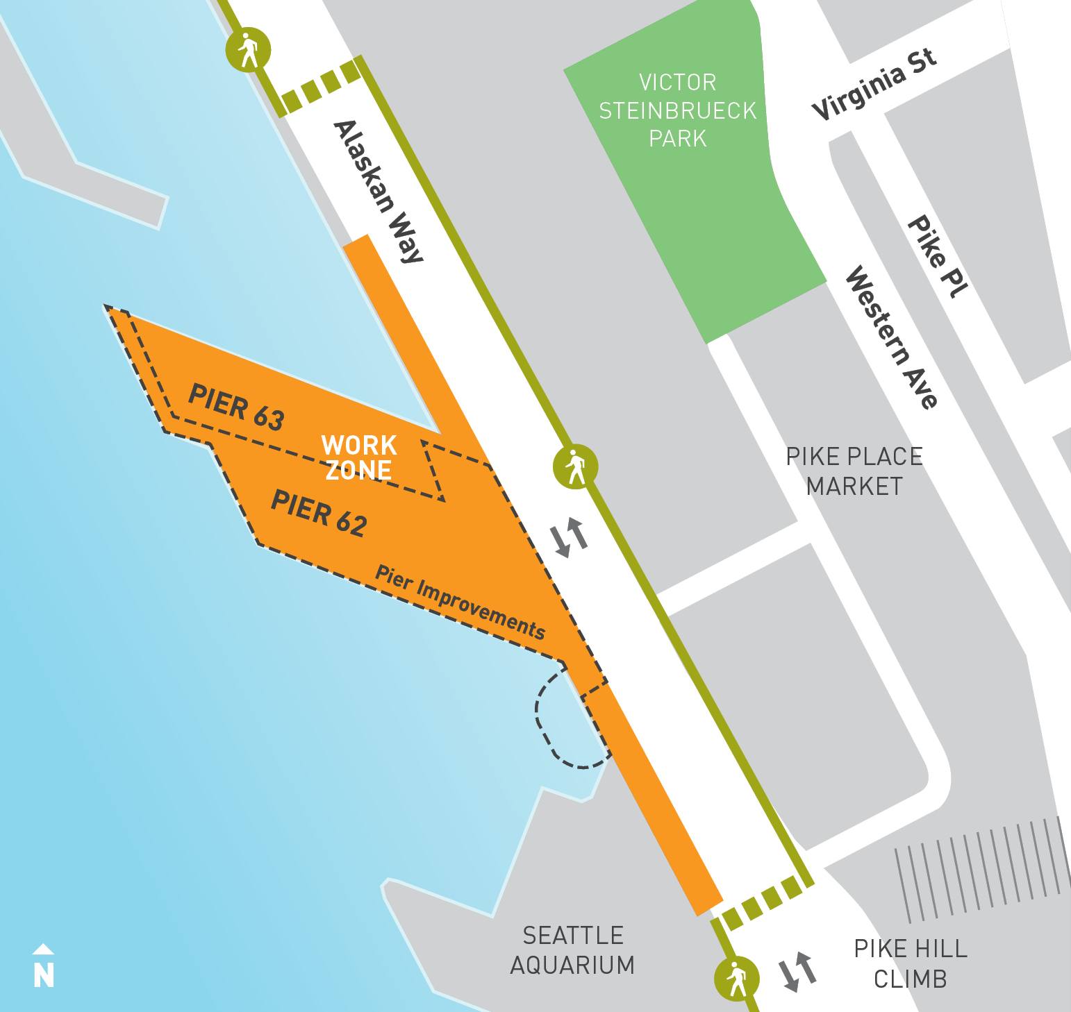 Map of current Pier 62 rebuild work zone on Pier 63 and 62 and along Alaskan Way.