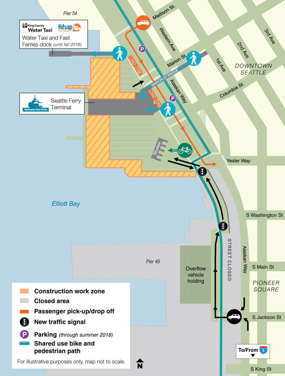 Map of the current construction work zone at the Colman Dock ferry terminal.