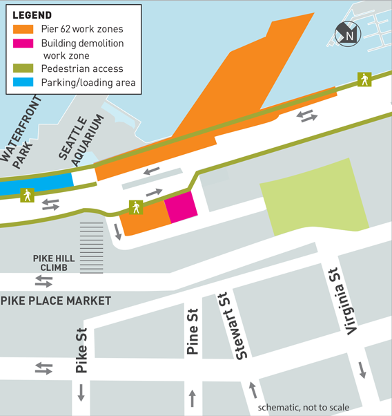 This is a map of the Harborscapes Building Demolition construction work zone. There are two kinds of work zones: Pier 62 work zones and Building Demolition work zones. Pedestrian access areas and parking/loading areas are also shown on the map. There are two active Pier 62 work zones. The first located at Pier 62 and Pier 63. The second is located on the south side of the parking area east of Alaskan Way between Pike and Pine Streets. There is one active building demolition work zone located on the north side of the parking area east of Alaskan Way between Pike and Pine Streets, which is adjacent to the second Pier 62 work zone. Pedestrian access and parking/loading areas along Alaskan Way will be accessible throughout the project.