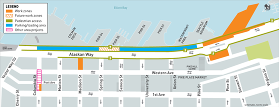 This is a map of Early Utility Work construction work zones. There are three kinds of work zones: work zones, future work zones and other area projects work zones. Pedestrian access areas and parking/loading areas are also shown on the map. There are two active work zones. The first is located along the waterfront on Alaskan Way at Marion Street, in front of Colman Dock. The second is located in a parking area east of Alaskan Way between Pike and Pine streets. There is one future work zone located on Madison Street between Alaskan Way and Western Avenue. There is one other area projects work zone located on Columbia Street between 1st Avenue and Western Avenue. Pedestrian access and parking/loading areas along Alaskan Way will be accessible throughout the project.