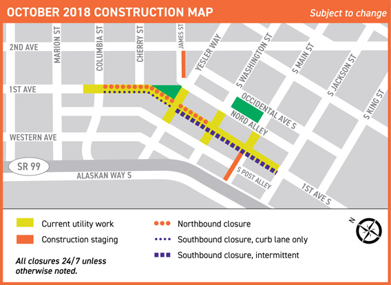 Map of Center City Connector Streetcar construction work