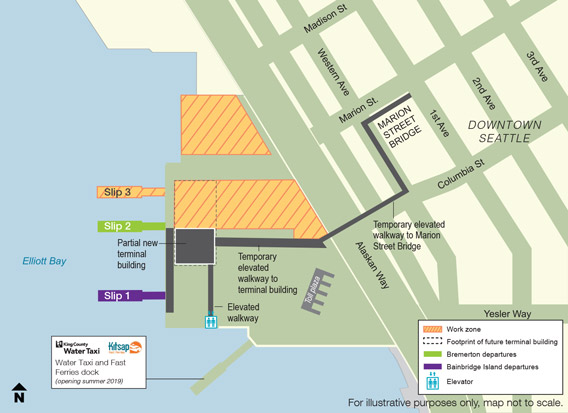 Map of the Spring 2019 construction work zone at the Colman Dock ferry terminal.