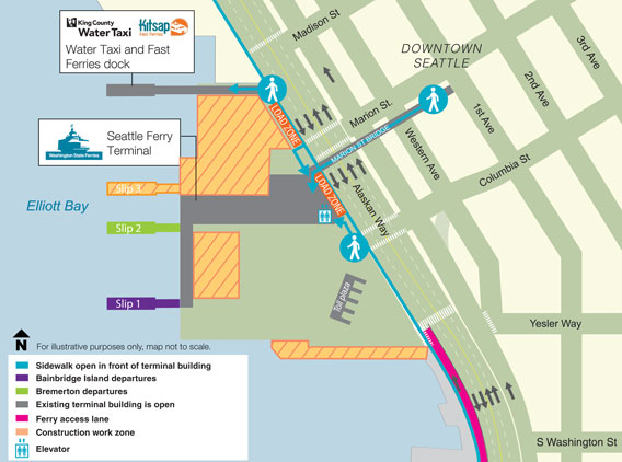 Pedestrial map. The pedestrian connection to the Marion Street Bridge remains open.