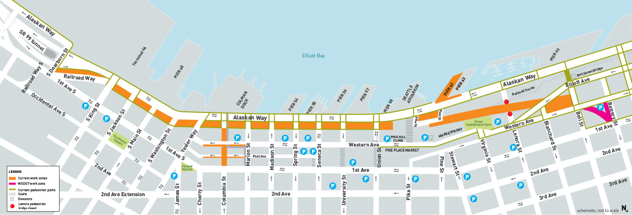 Map of current construction along the Seattle waterfront