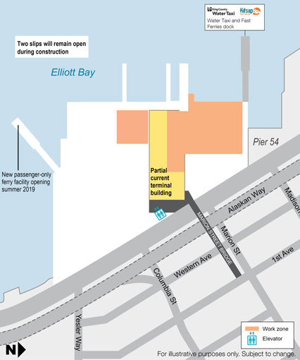 Map of the construction work zone at the Colman Dock ferry terminal.