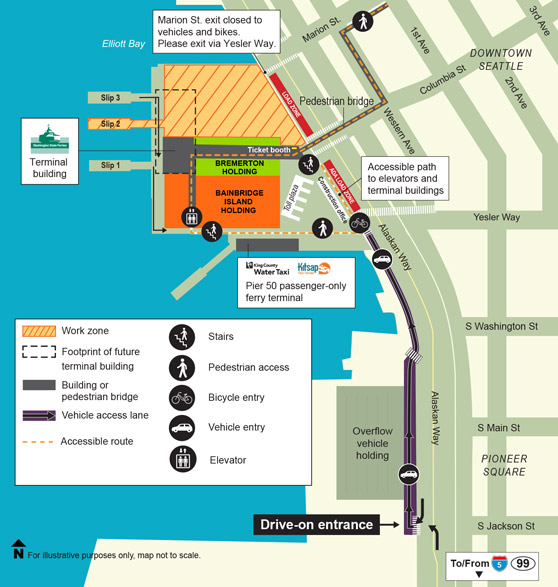 Map of Colman Dock showing how pedestrians, bicyclists, and vehicles can access Colman Dock. Note that the Marion Street exit is closed to vehicles and bikes. Please exit via Yesler Way.