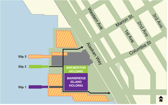 Map of the Winter 2019 construction work zone at the Colman Dock ferry terminal.