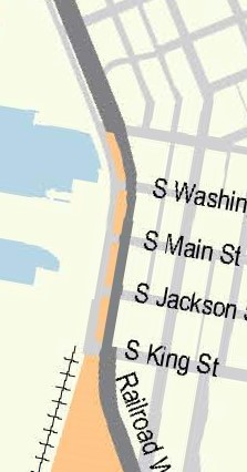 Map of current Alaskan Way Viaduct construction zone along Alaskan Way from Yesler Way to south of S King St.