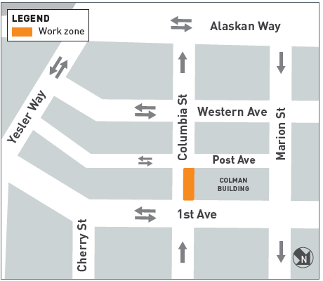 This is a map of the Columbia Street Areaway Fill construction work zone. There is one work zone located on the north side of Columbia Street, adjacent to the south side of the Colman building, between 1st and Post avenues.
