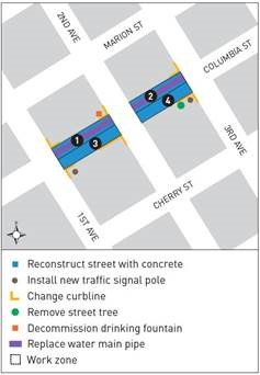 Map of current Columbia Street Two-Way Transit Corridor construction zone along Columbia St between 1st and 3rd avenue.