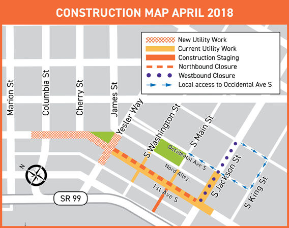 What's happening – center city connector map of current Center City Connector construction along 1st Ave S from Yesler Way to S Jackson St, and along S Washington St, S Main St, and S Jackson St from 1st Ave S to Nord Alley.
