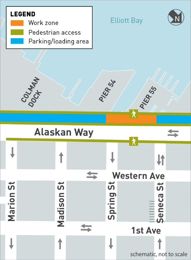 This is a map of Early Utility Work construction work zones. There are three kinds of work zones: work zones, future work zones and other area projects work zones. Pedestrian access areas and parking/loading areas are also shown on the map. There are two active work zones. The first is located along the waterfront on Alaskan Way at Marion Street, in front of Colman Dock. The second is located in a parking area east of Alaskan Way between Pike and Pine streets. There is one future work zone located on Madison Street between Alaskan Way and Western Avenue. There is one other area projects work zone located on Columbia Street between 1stAvenue and Western Avenue. Pedestrian access and parking/loading areas along Alaskan Way will be accessible throughout the project.