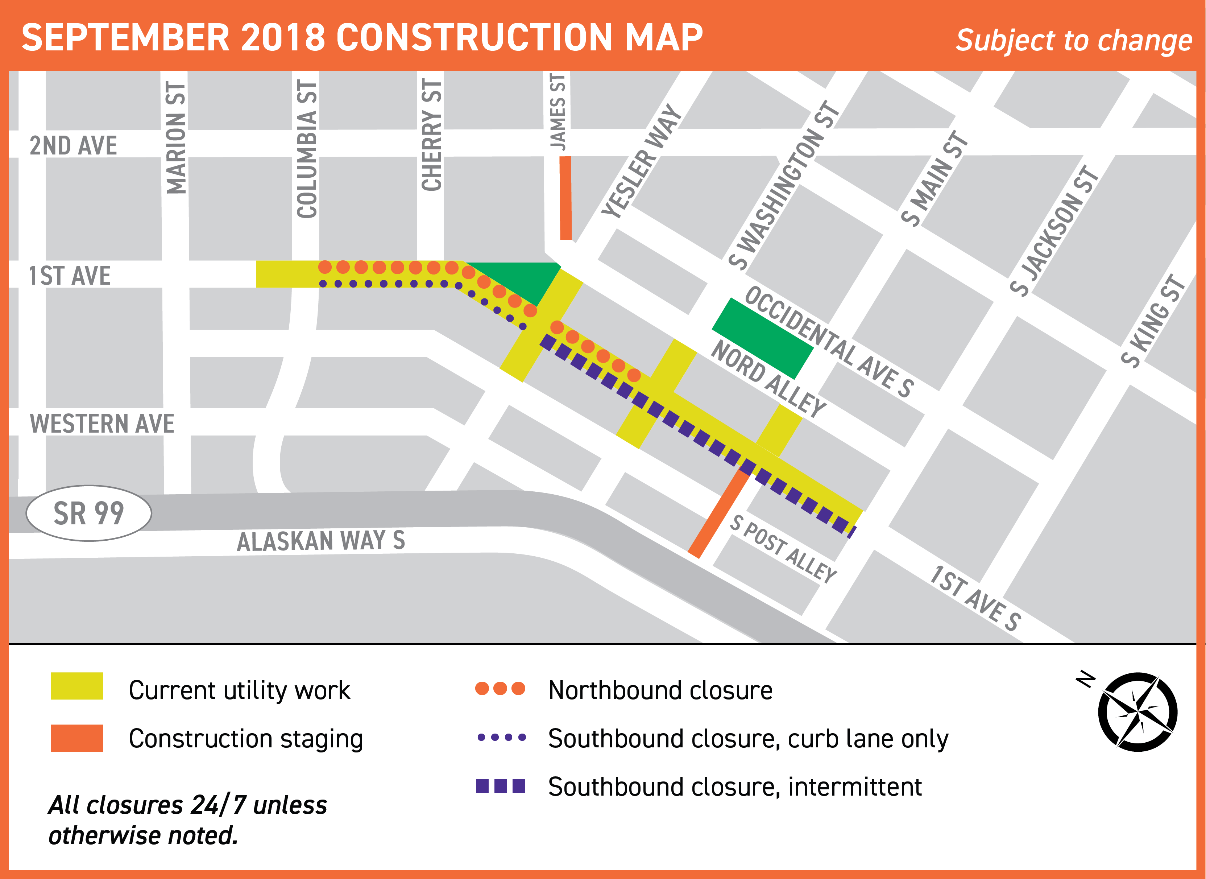 What''s happening – center city connector map of current Center City Connector construction along 1st Ave S from Yesler Way to S Jackson St, and along S Washington St, S Main St, and S Jackson St from 1st Ave S to Nord Alley.
